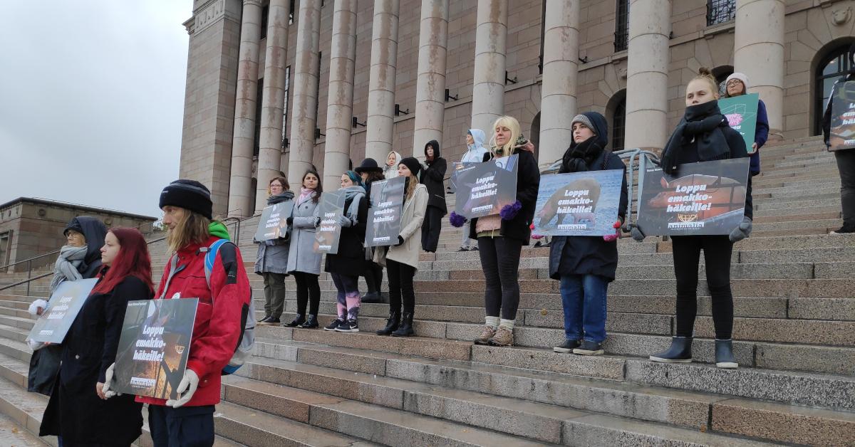 Animalian vapaaehtoisia aktiiveja eduskuntatalon porteilla. He pitävät käsissään Loppu emakkohäkeille -julisteita.