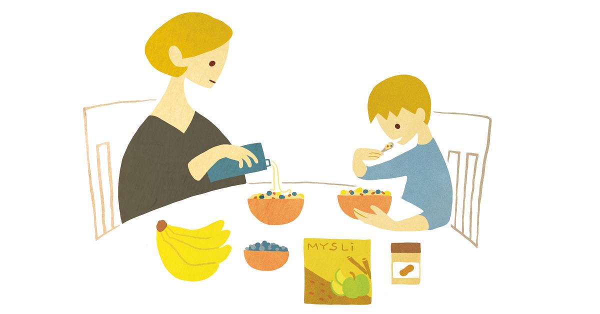 Kuvituskuva äidistä ja pojasta ruokapöydässä. Molemmat syövät mysliä.