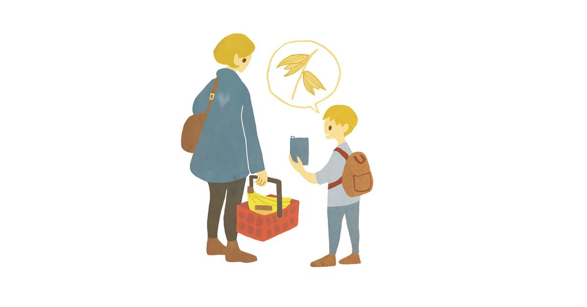 Kuvituskuva äidistä ja pojasta ruokaostoksille. Poika toivoo kaurajuomaa ostoskoriin.