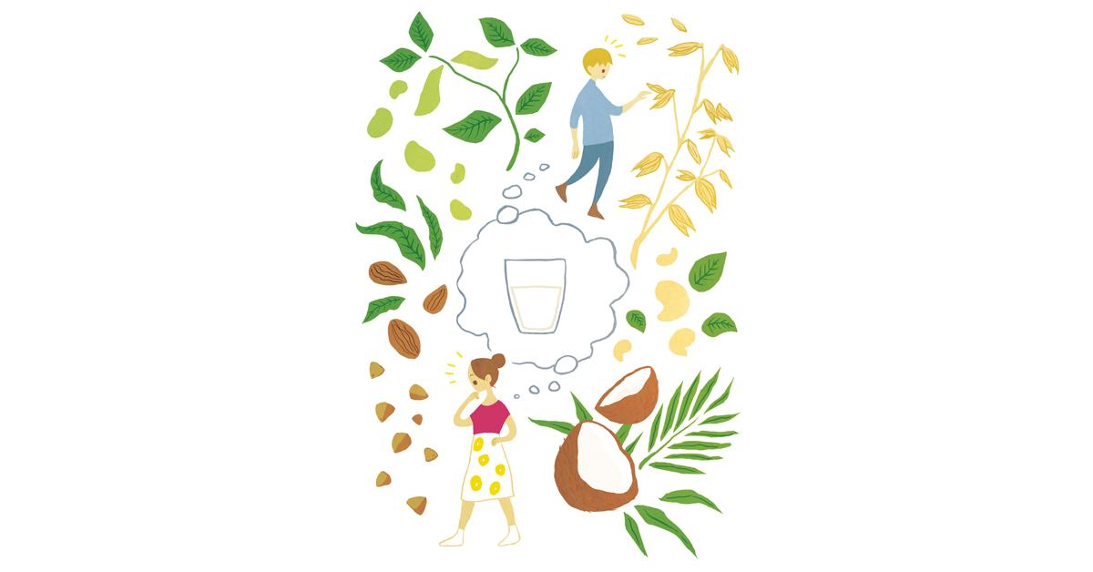 Kuvituskuva äidistä ja pojasta, jotka pohtivat, millä kasvituotteella he korvaavat maidon.