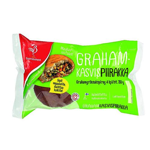 Saarioisen Graham-kasvispiirakka.
