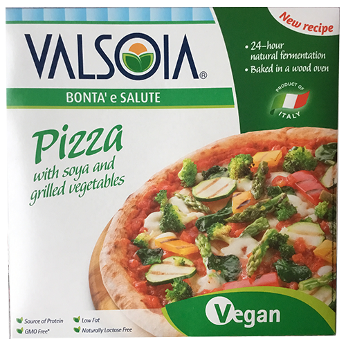 Valsoia Pizza with Soya and Grilled Vegetables.