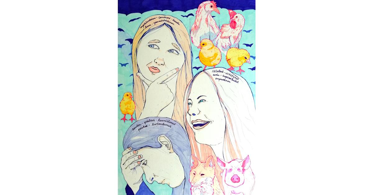 Kuvituskuvassa kolme naista. Yksi pohtii, toinen on inspiroitunut ja kolmas on lannistunut. Kuvitus: Maria Leskinen.