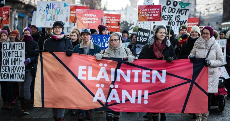 Animalian Heidi Kivekäs osallistui suureen Eläinten ääni -mielenosoitukseen.