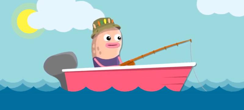 Kaupallinen kalankasvatus. Kuvassa hassu hahmo kalastaa.