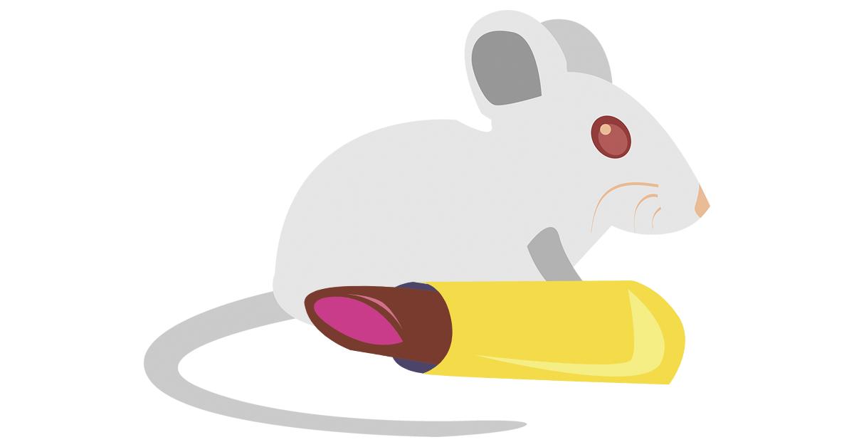 Kuvituskuvassa hiiri ja huulipuna. Kuvitus: Heta Kasurinen.