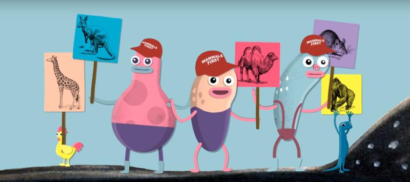 Mitä tapahtuu, kun katsomme kalaa? Kuvituskuvassa hassu hahmo on mukana mielenosoituksessa.