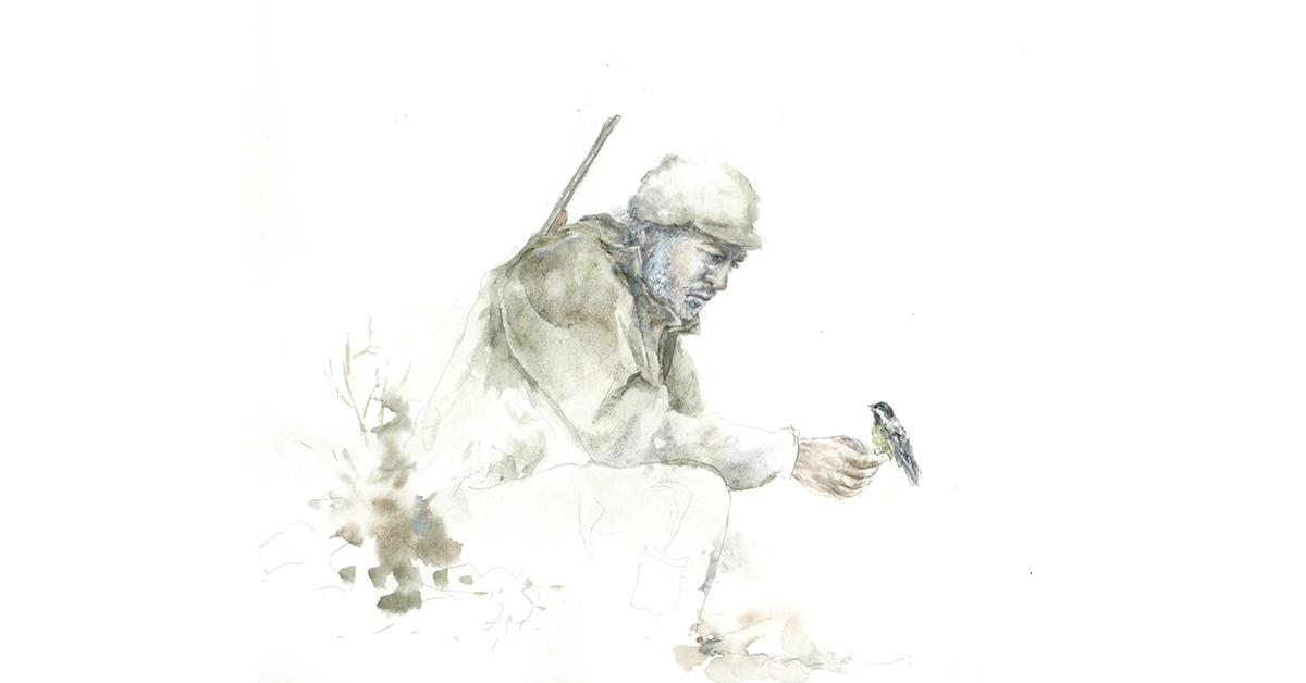 Kuvituskuvassa metsästäjä pitelee hellästi sinitiaista käsissään. Kuvitus: Emma Komi.