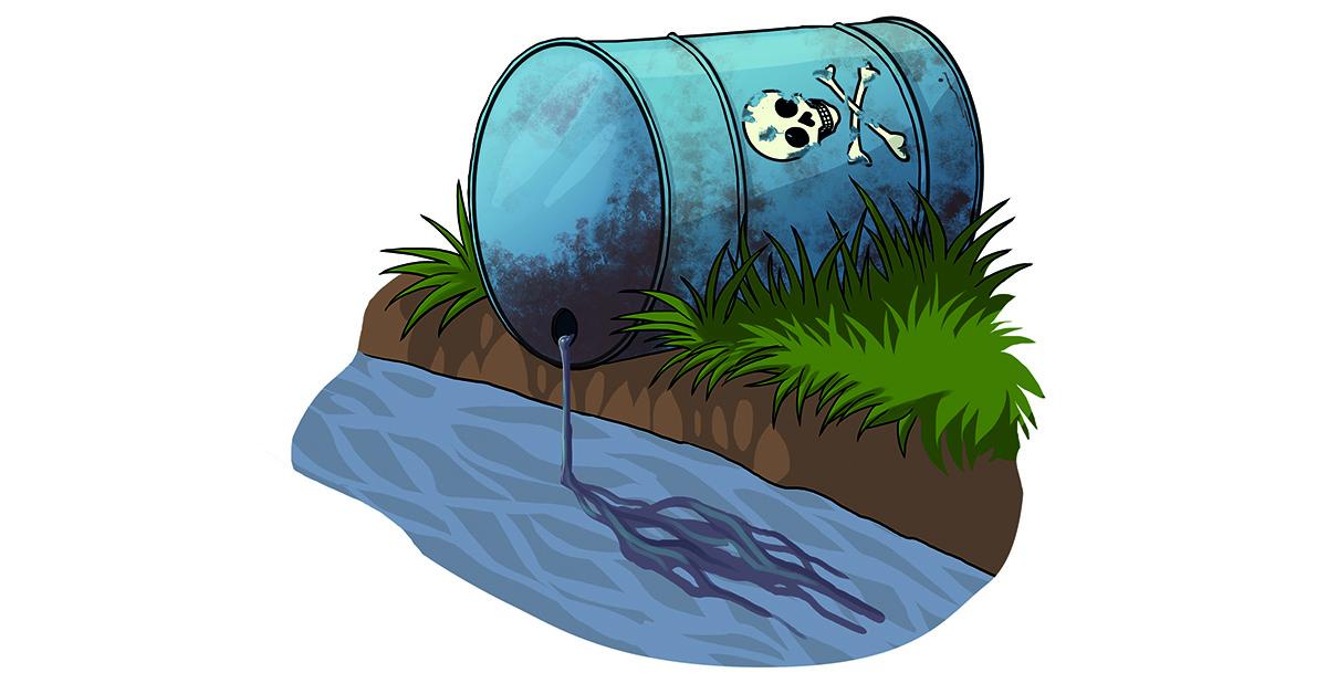 Kuvituskuvassa vaarallista jätettä valuu mereen. Kuvitus: Karoliina Falck.